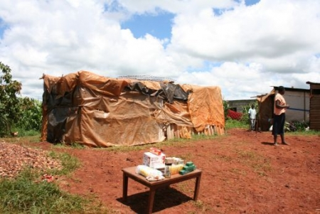Joanna Stavropoulou  |  Residents in high density townships set up small stands selling anything from cookies to soap. Their houses are makeshift shacks covered with tarpaulin.