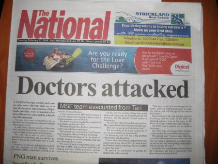 C Houston | Front page of The National, Port Moresby and Lae