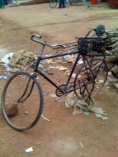 Photo: Eamonn Vitt | Knife-sharpening stone rigged to a bicycle.  Low carbon footprint.