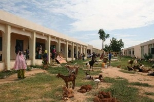 Displaced sheltering at Goronyo secondary school following flooding
