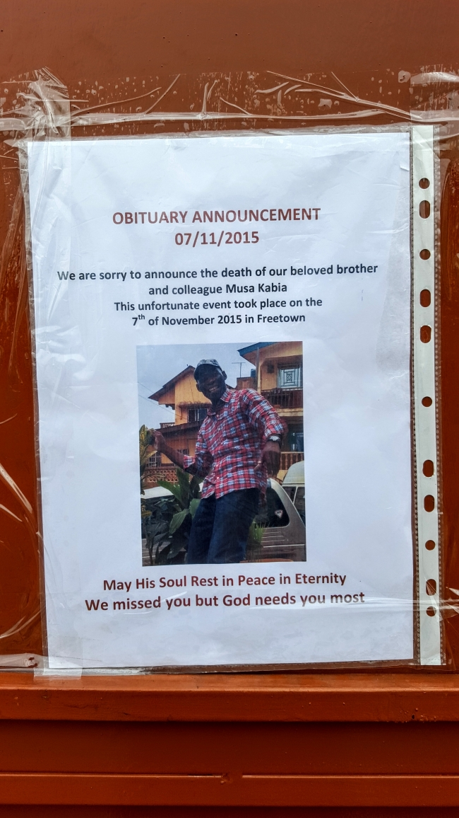 Musa's obituary notice on the gate of MSF's office in Freetown.