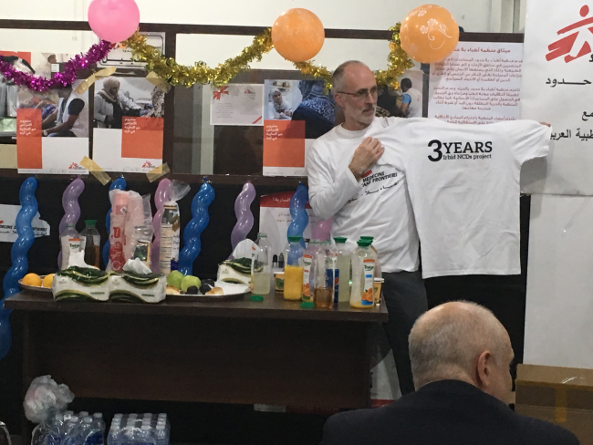 Image shows Mike in his MSF t-shirt, at the celebration event in Irbid