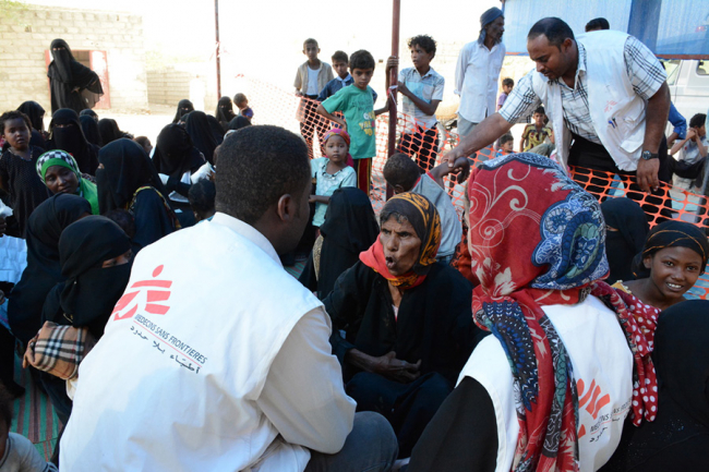 Patients wait for treatment at the MSF cholera treatment centre in Yemen