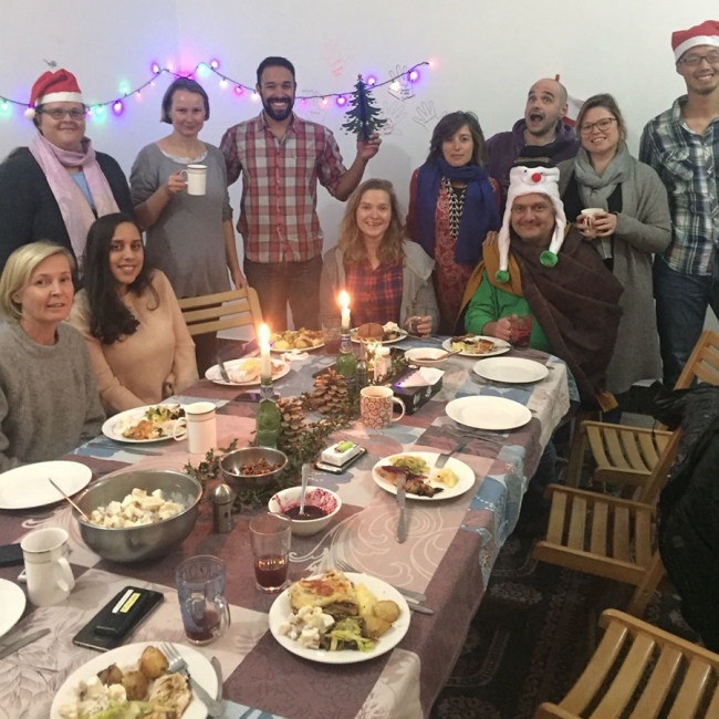 Eben and the MSF Pakistan team enjoy Christmas lunch