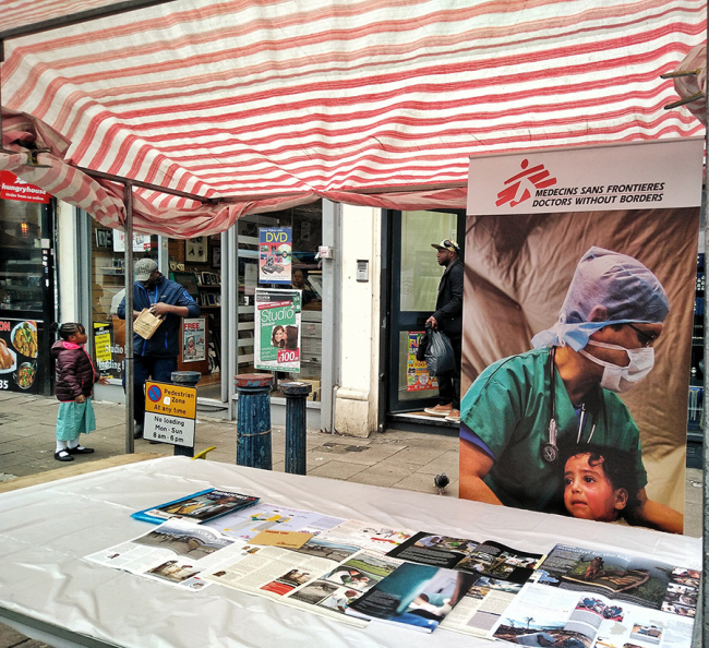One of MSF's face to face fundraising stalls, manned by the street fundraising team