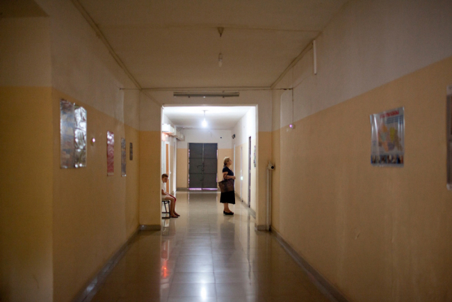 Image shows a corridor in a TB hospital in Georgia