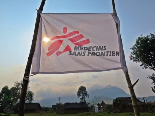 The MSF banner flies high