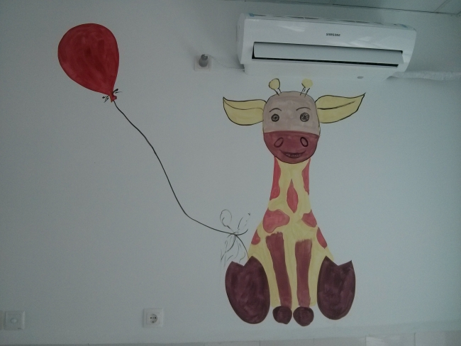 """A giraffe on the wall the NICU is probably the friendliest ward of the whole hospital."""