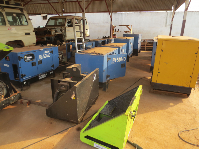 Image shows just some of the generators the team stores at the mechanical workshop