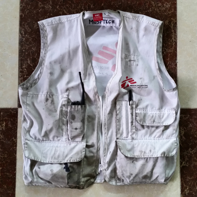 Piotr's battered, stained MSF waistcoat