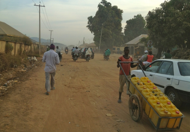 Images shows a street in Jahun