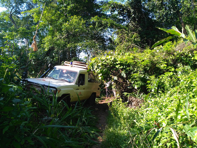 The MSF land cruiser navigates the difficult terrain in Central African Republic