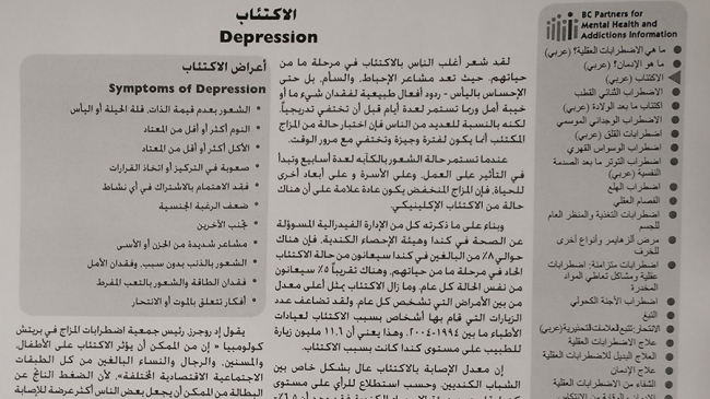 Photo shows a leaflet about depression, written in Arabic