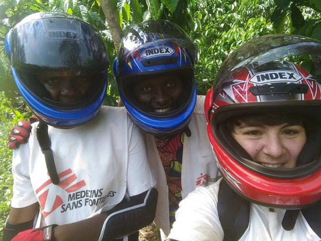 Vera and some of the team on a motorbike delivering vaccines in Central African Republic