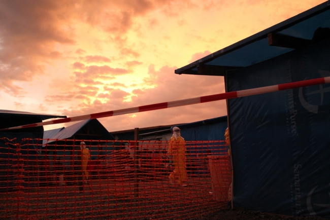 An amazing sunset settles over the team at MSF's Ebola CMC in Foya, Liberia