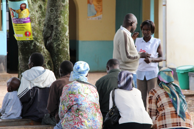 People attend a health information session at Homa Bay Hospital.