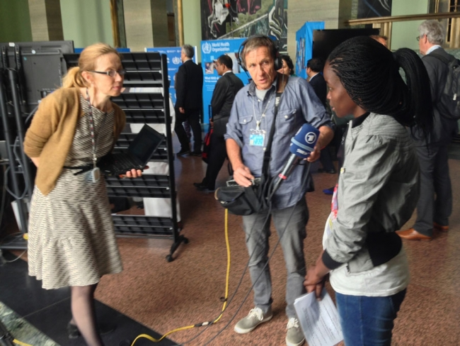 Being interviewed by German TV station ARD at the World Health Assembly in Geneva, May 2014. ©MSF