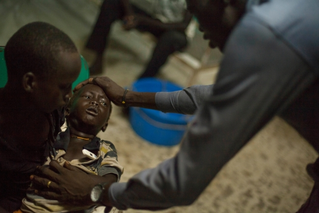 Kume is a three-year-old boy tested positive for malaria. He had a fever of 39.7 when his family brought him into the hospital at Bentiu POC.