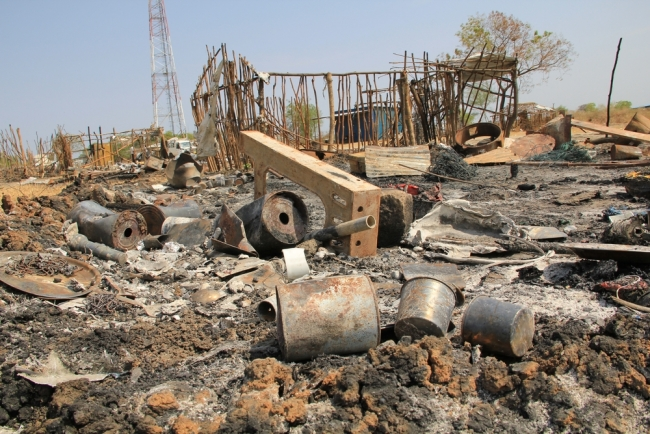 Following heavy fighting in Pibor, South Sudan from Feb 23-25, 2016, many homes throughout town have been burnt, looted and destroyed.