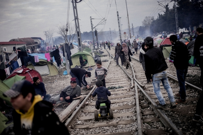 A scene from inside the crowded camp in Idomeni.