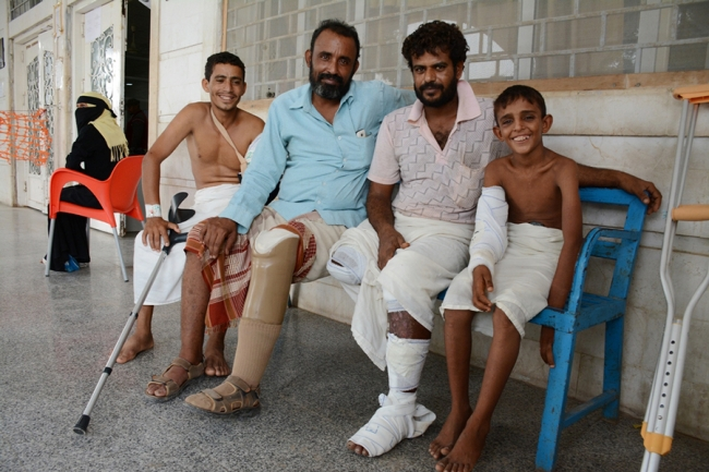 Photo of patients at MSF's surgical hospital in Aden, Yemen.