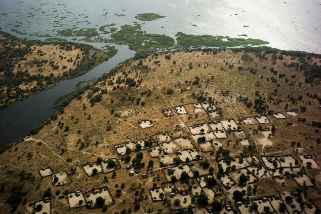 View of villages near Bol, Lake Chad region.