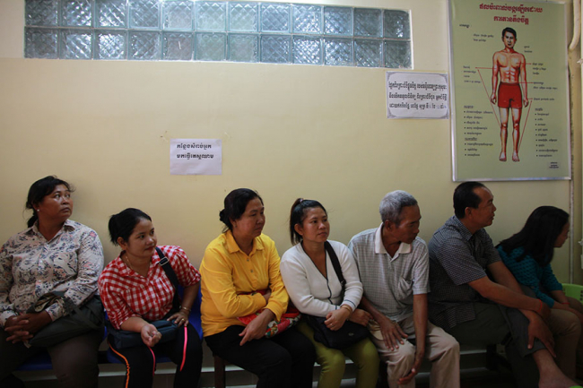 People wait at MSF's Hepatitis C clinic in Preah Kossamak Hospital, Phnom Penh, Cambodia.