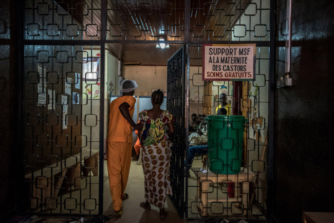 A woman arrives at the maternity hospital in Bangui