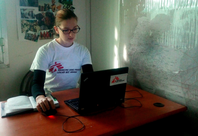 Veronika working at the MSF coordination office