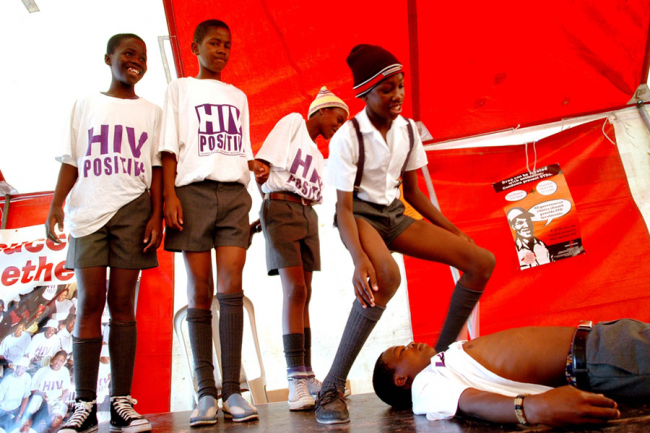 A drama production on the issue of HIV by a group of young schoolboys in South Africa