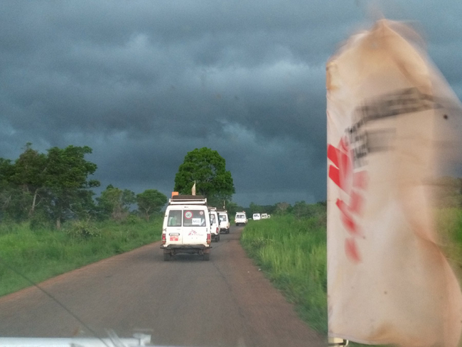 The MSF land cruisers on the road in Central African Republic