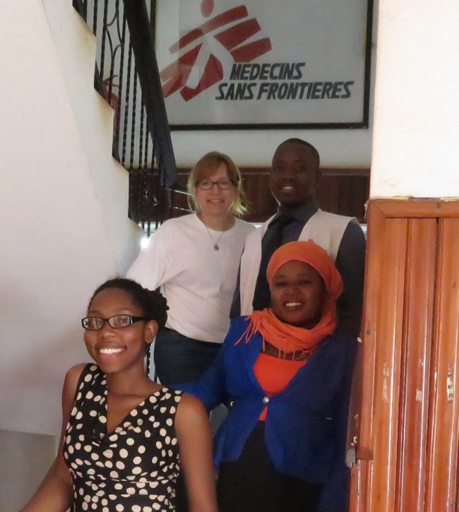 Kim Cremers and the rest of the pharmacy team in MSF's project in Uganda