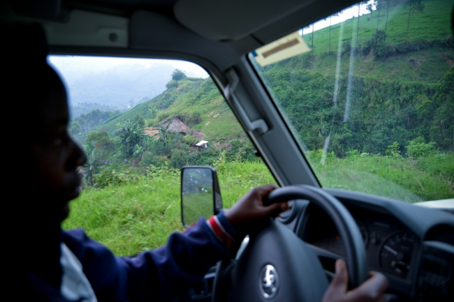 The MSF ambulance on its way to pick up a patient in Nyabiondo