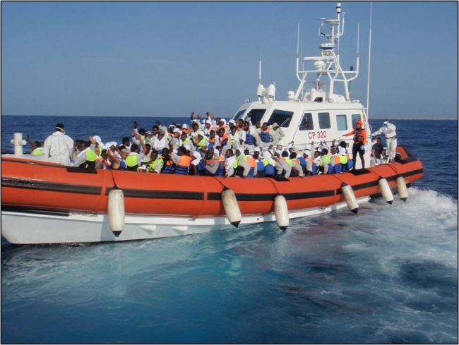 The Italian Coast Guard transferred people from the Phoenix, to Lampedusa.