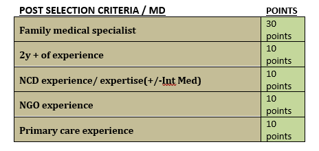 Selection criteria table