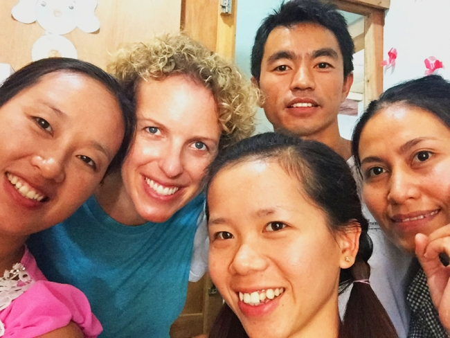 Photo of Christine with her colleagues in Myanmar