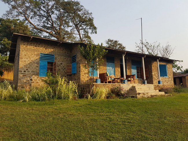 The MSF house where international staff live in Boga, DRC