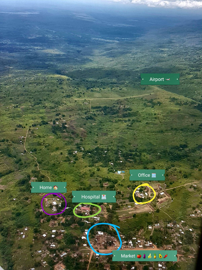 Aerial view of Boga, DRC, showing MSF hospital, office and guesthouse