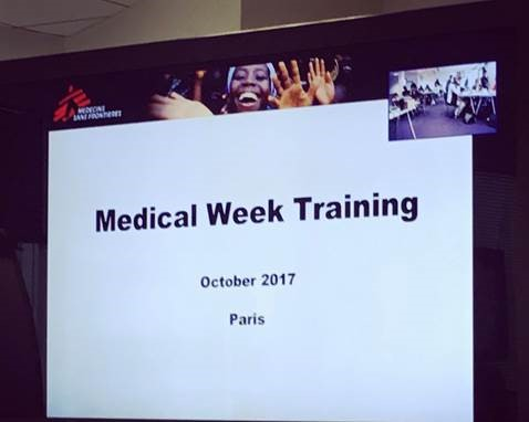 Image shows MSF / Doctors without Borders Medical Week Training slides