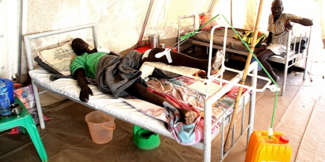 A patient in Agok hospital's surgical department.