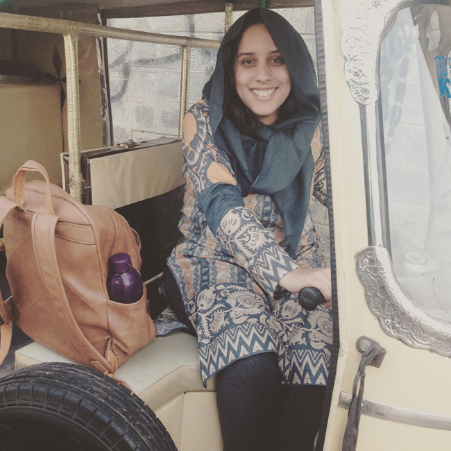 Image shows Nathalia in a tuk tuk