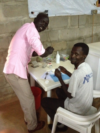 Juba and Hamid; pharmacist assistants who play a crucial role distributing measles medication © Laura Bridle