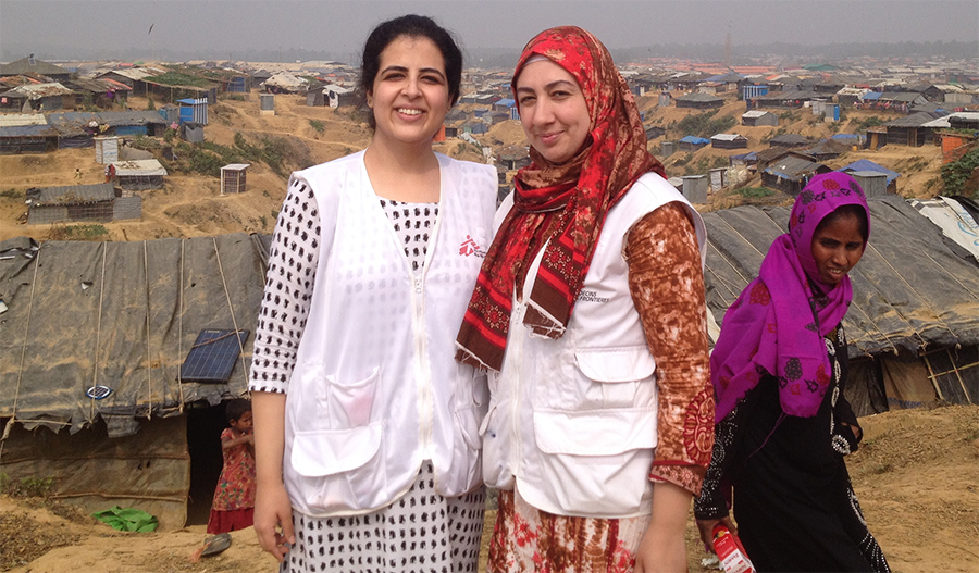 Dr Samreen with Pharmacist Kader inside the Kutupalong refugee camp. Photo: MSF
