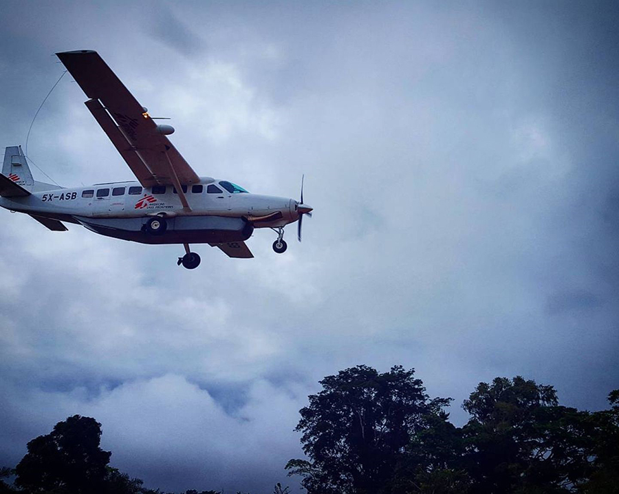 MSF plane flying out of Kibombo, DRC