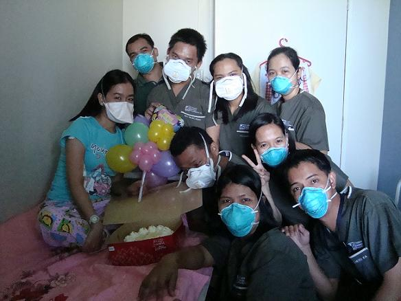 April 2009, celebrating my birthday together with hospital health workers