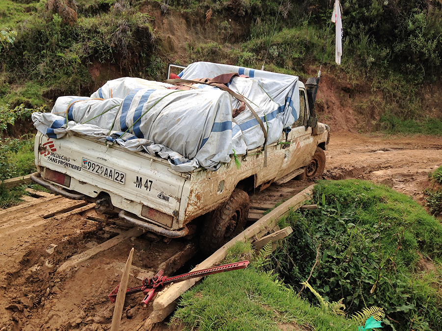 MSF pickup truck on Congolese road