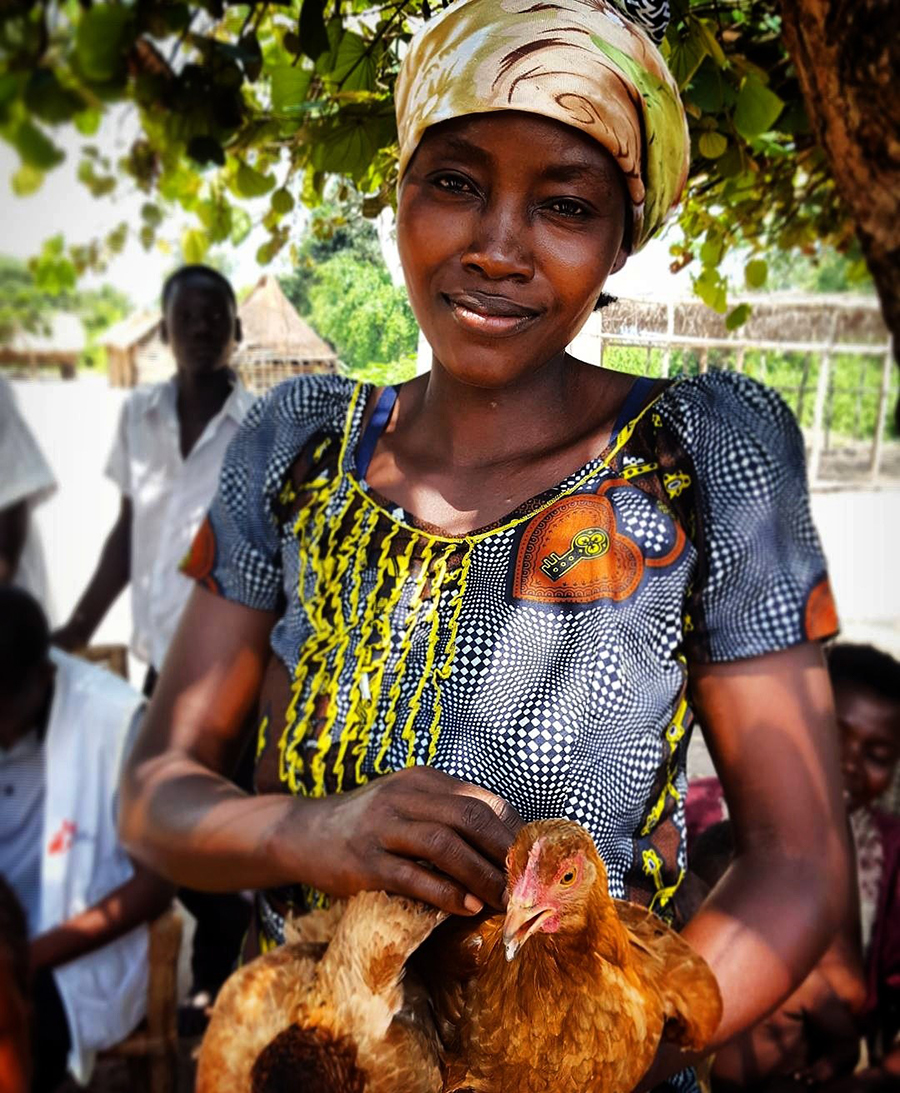 Woman at screening for HAT in DRC