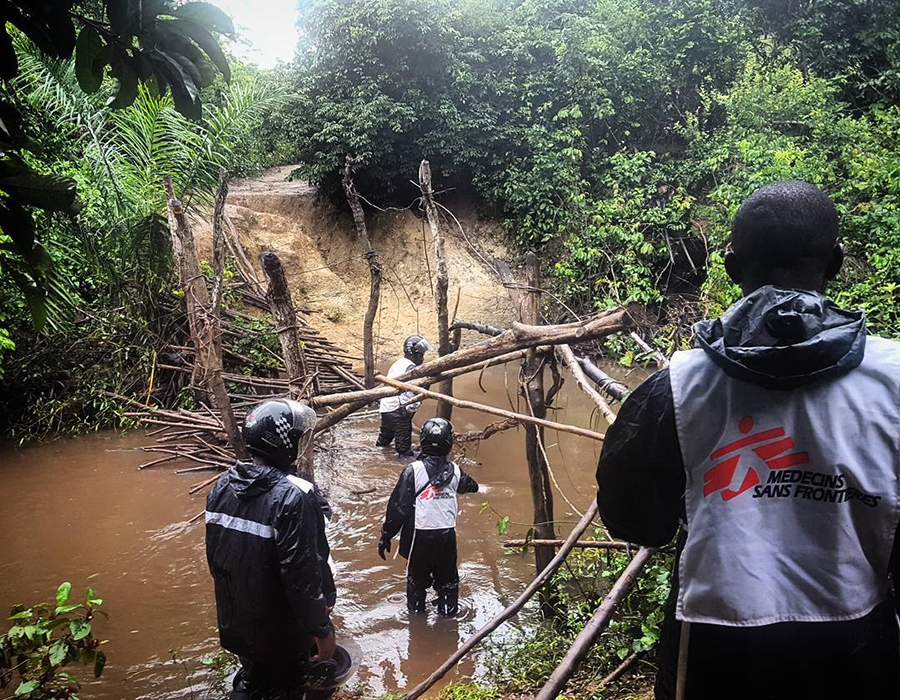 The remains of a bridge destroyed by heavy rain in DRC