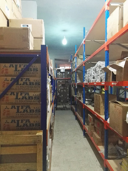 The warehouse of medical supplies