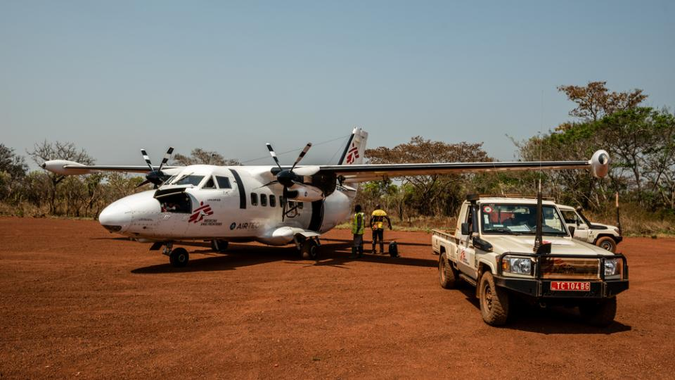 An MSF plane is prepared for take off in Central African Republic